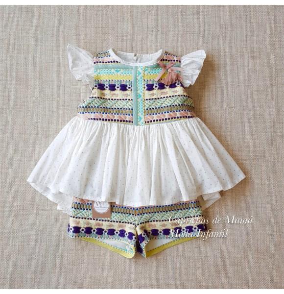 0d35ef888 Conjunto niña Verona de Noma Fernández blusa y short