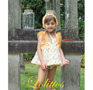Jesusito bebé niña Mimosa de Lolittos amarillo plumas