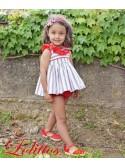 Conjunto bebé niño Navy de Lolittos rayas rojo