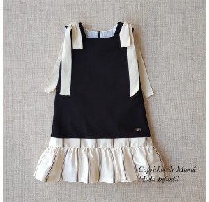 Vestido niña de Eve Children negro lazos hombro