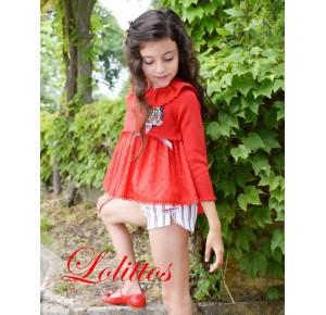 Conjunto niña Navy de Lolittos blusón short y chaqueta