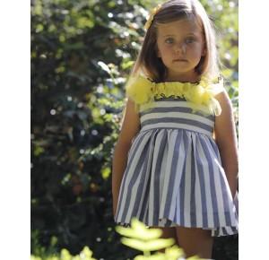 Vestido niña Sion de Lapeppa azul y amarillo