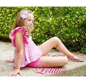 Conjunto niña Flamenco de Lolittos blusón y short