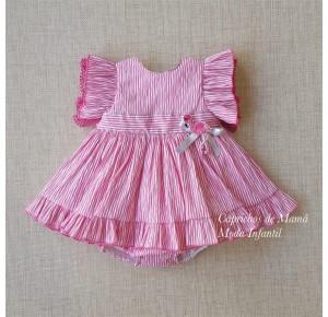 Jesusito niña Flamenco de Lolittos rayas rosa