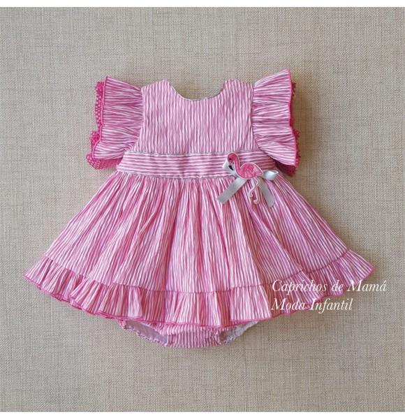 9feb9c032 Jesusito niña Flamenco de Lolittos rayas rosa