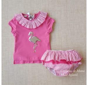 Conjunto niña Flamenco de Lolittos camiseta y braga