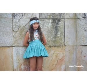 Conjunto niña Menta de Noma Fernández blusa y falda