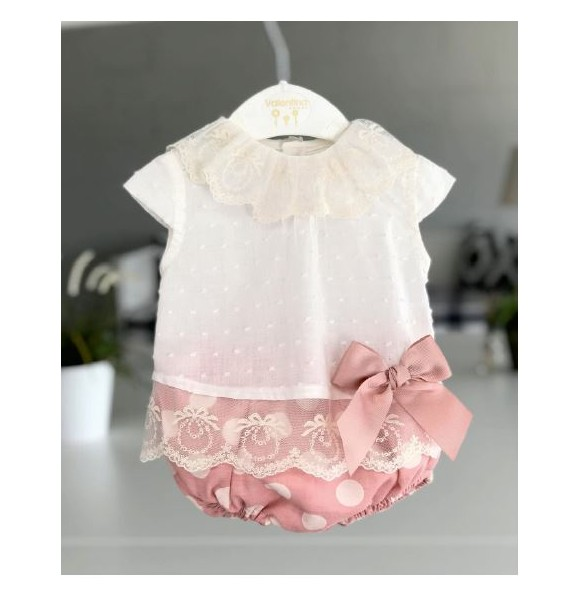 Conjunto bebé niña de Valentina Bebés braguita lunares