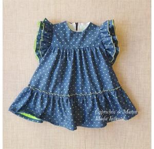 Vestido niña de Baby Yiro denim verde flúor