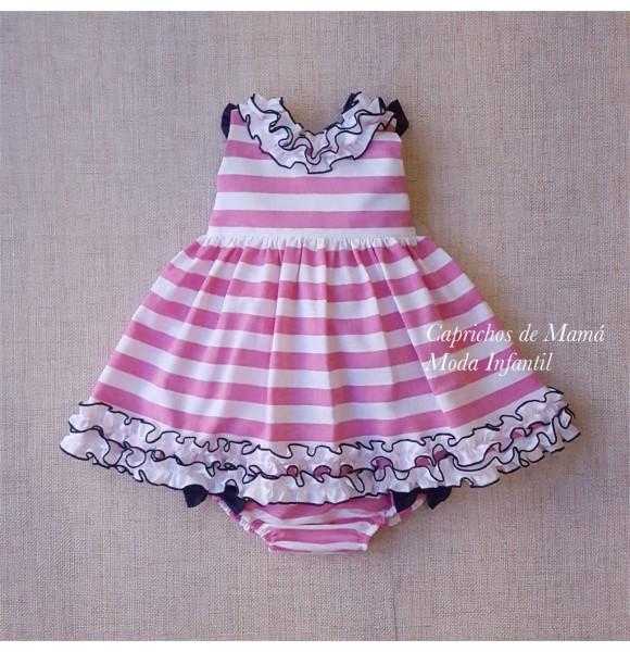 9224777f0 Jesusito bebé niña de Nini rayas rosas y azul marino