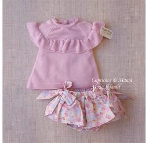 Conjunto bebé niña de Valentina Bebés jersey y braga
