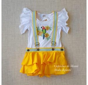 Conjunto niña camiseta y peto Loros de Badum Badero