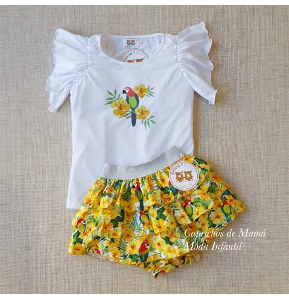 Conjunto niña camiseta y falda Loros de Badum Badero