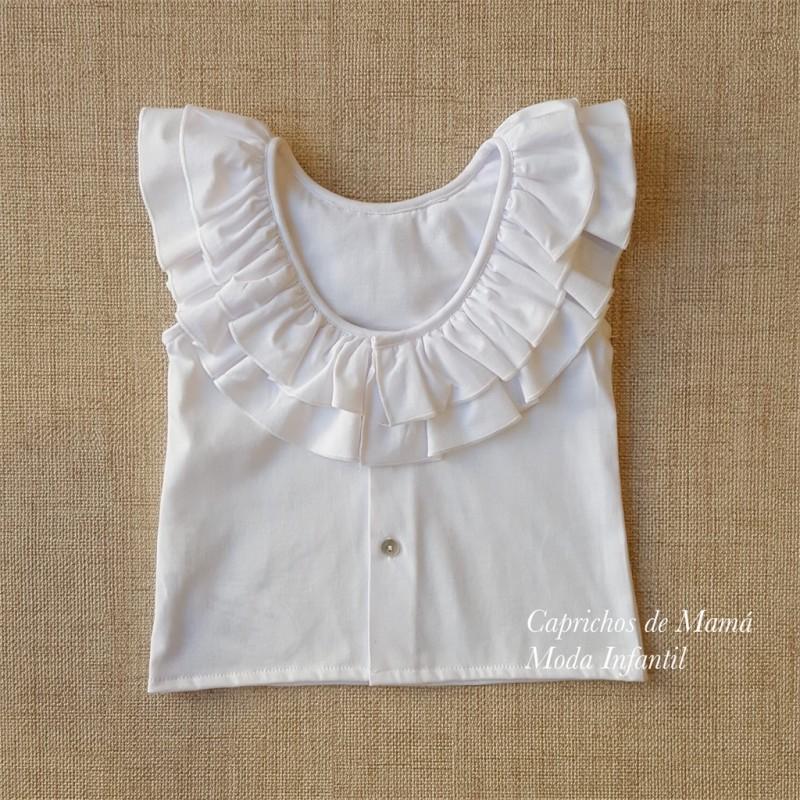 6f00daeb8 ... Camiseta niña de Baby Yiro blanca volantes cuello ...
