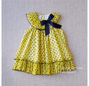 Vestido niña Triana de La Martinica amarillo lunares