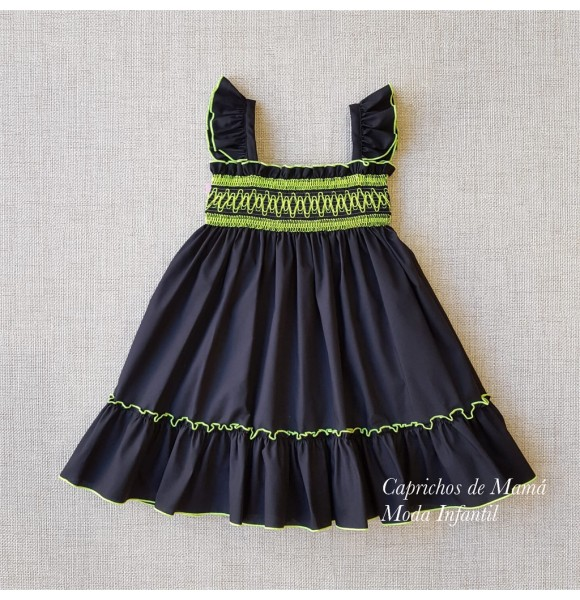 Vestido niña Denise de Eva Castro negro con flúor