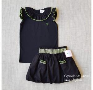 Conjunto niña Denise de Eva Castro falda negra