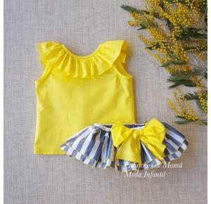 Conjunto niña Sion de Lapeppa camisa y braga a rayas