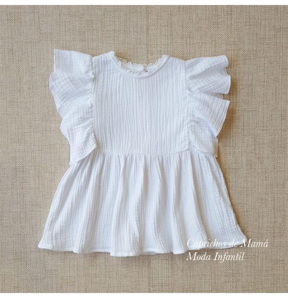 Blusa niña de Mía y Lía bámbula blanca