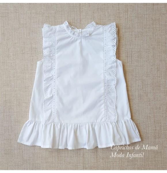 4cec1d4d2 Blusa niña de Mía y Lía blanca tira bordada