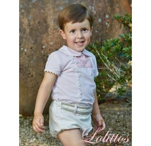 Conjunto bebé niño París de Lolittos rosa y arena