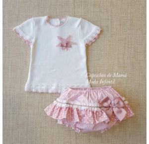 Conjunto bebé niña de Carmen Taberner blanco y rosa